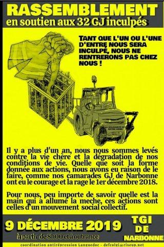 Rassemblement de soutien aux inculpés GJ de Narbonne
